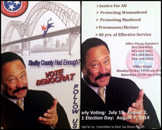 Judge Joe Brown, Demccratic Party, Shelby County, Election Poster, Shriners, Freemasons, Freemasonry, Masonic Lodge